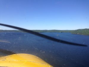 Flying into Elsie Lake.